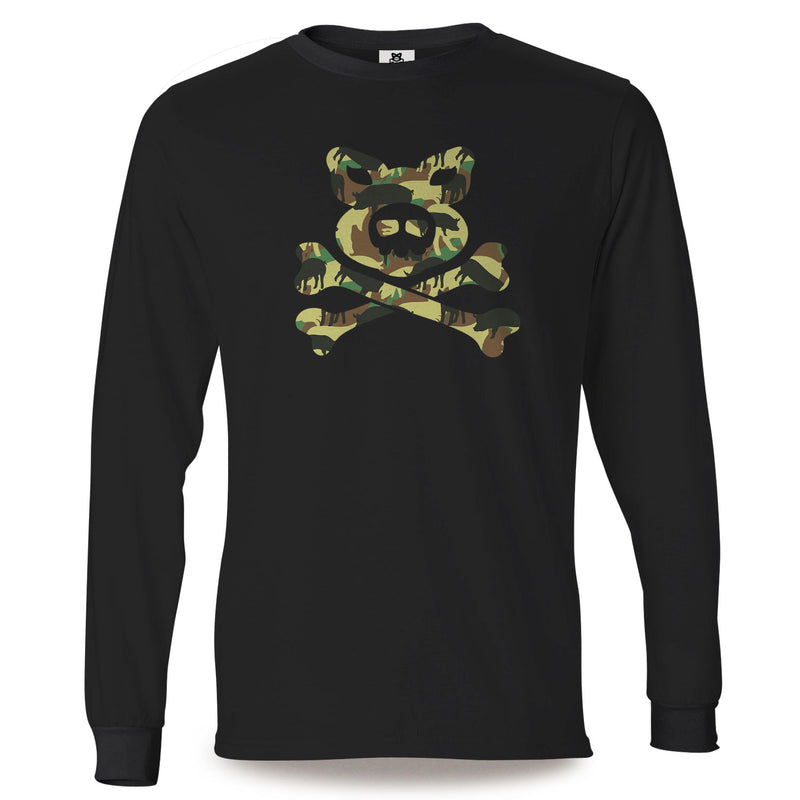 Pig'n'Bones® Pig Camo Crossbones - Black Long Sleeve T-Shirts