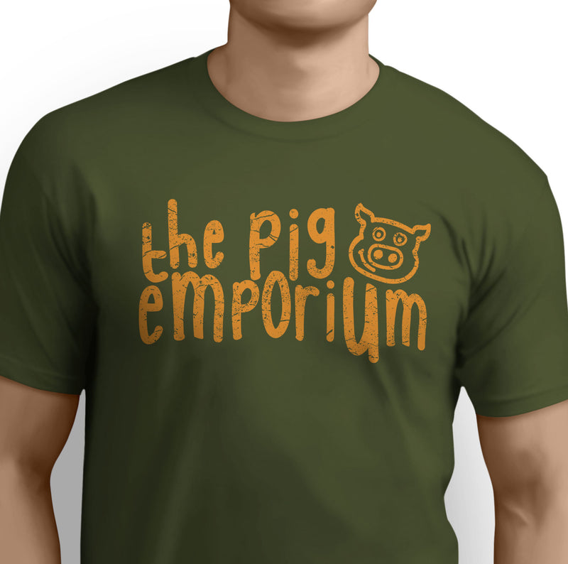 The Pig Emporium Classic Distressed Orange Logo Olive Tee