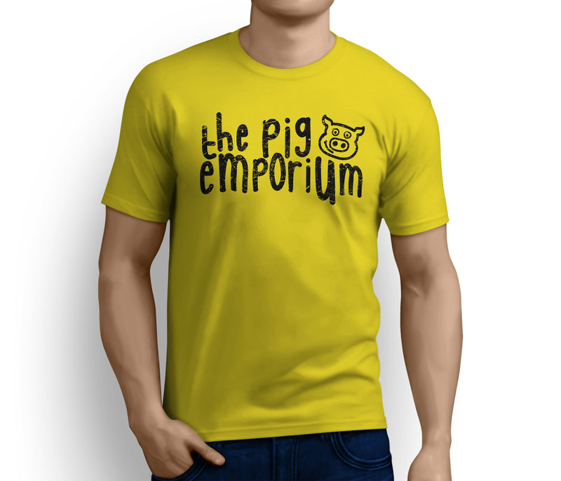 The Pig Emporium Classic Distressed Black Logo Yellow Tee