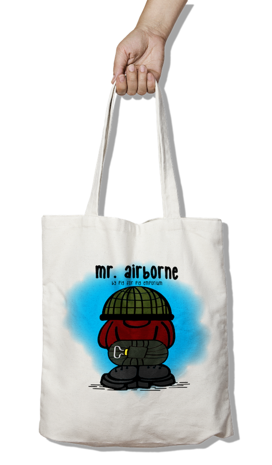 Mr. Airborne with Scrim Helmet - Tote Bag - Pig Emporium