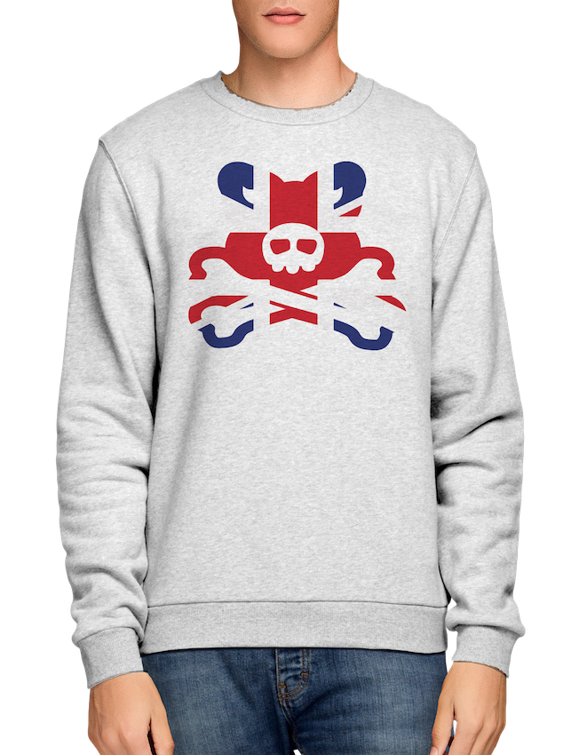 Crossbones Large Union Flag Logo - Ash Grey Crew Sweat