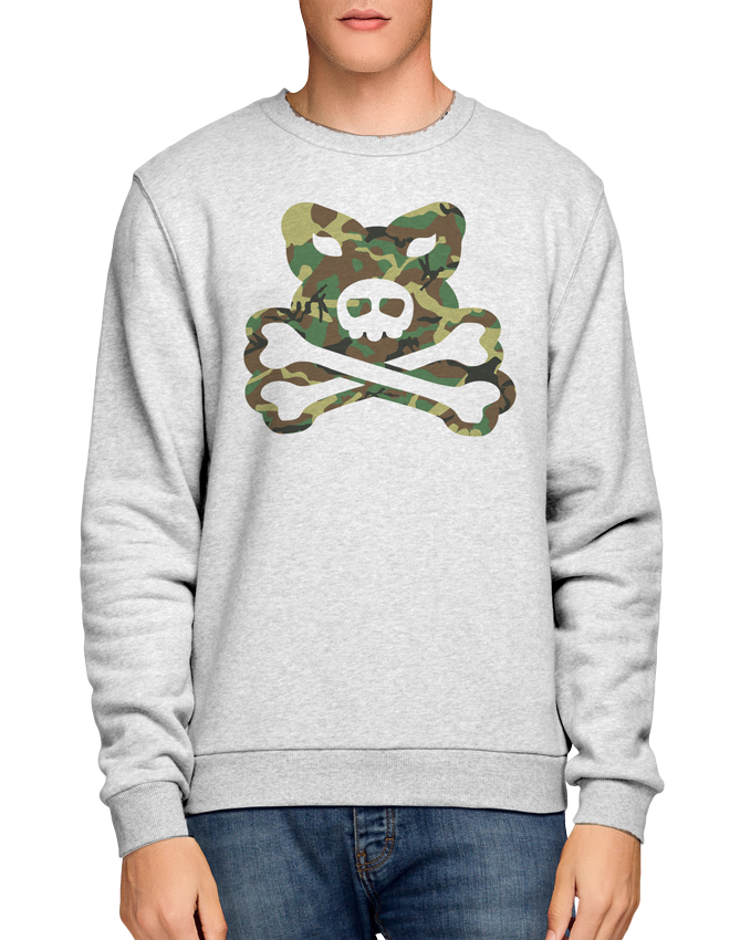 Crossbones Large Camo Logo - Ash Grey Crew Sweat