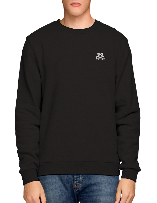 Crossbones Flocked Chest Logo - Black Crew Sweat