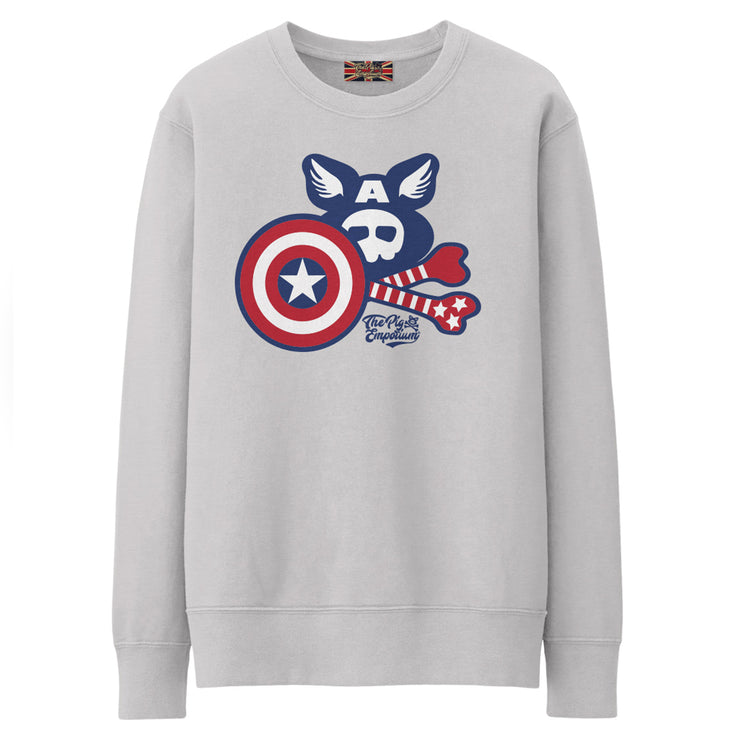 Crossbones Heroes by Pig Jackson - The Captain Crew Sweat - Pig Emporium