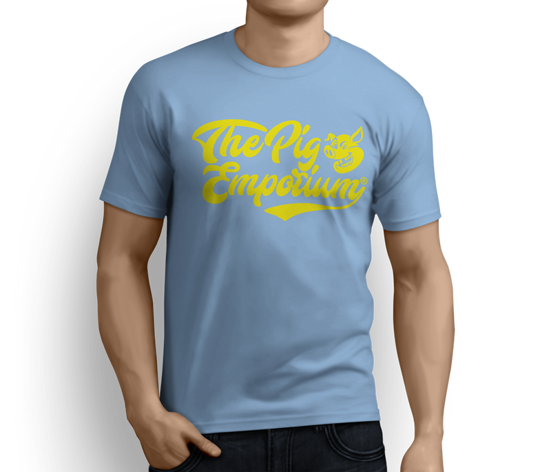 The Pig Emporium Wink Logo Tee - Yellow Logo