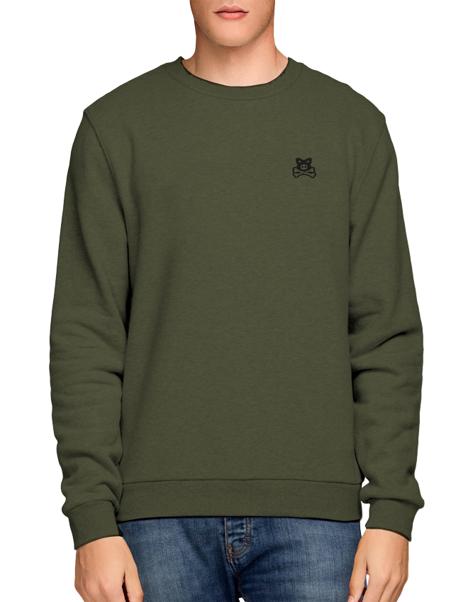 Crossbones Flocked Chest Logo - Olive Crew Sweat
