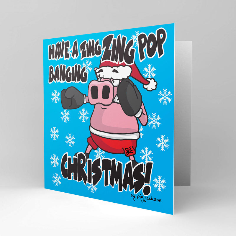 Christmas Boxing Pig Zing Zing Pop Banging - Greetings Cards - Pig Emporium