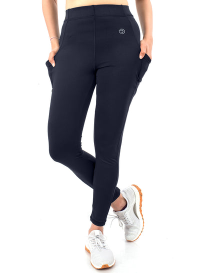 Women's Stretchy Active Legging with 2 Side Pockets- Navy - TRUEREVO