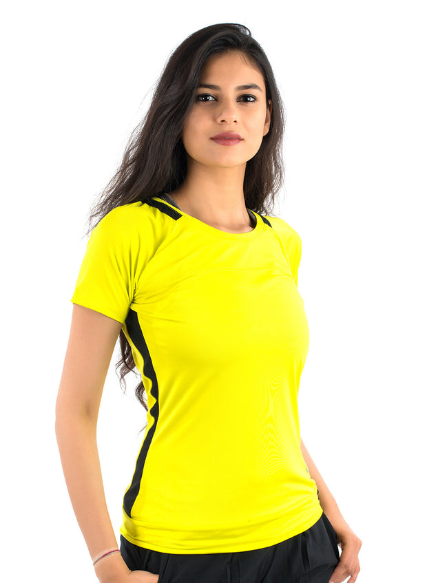 Core Technical Yoga & Training Tee - Neon Yellow & Black - TRUEREVO