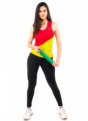 Diagonal Cut Training Tank Top - Red Yellow - TRUEREVO