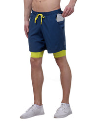 Shorts (with Phone pocket) & T-shirt Combo 2 Pack Men's Teal Blue - White