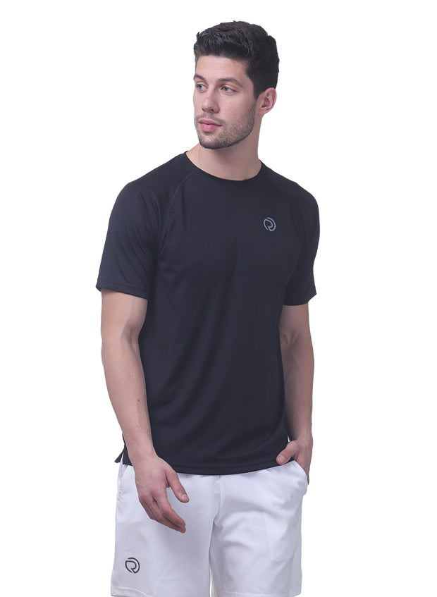 Men's Reflective dryfit tshirt with performaance mesh back - Black - TRUEREVO