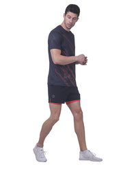 "5"" Running Shorts with water resistant phone pocket - Men's Black Orange Double Layer"