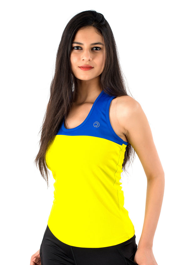 U Cut Training Tank Top - Blue Yellow - TRUEREVO