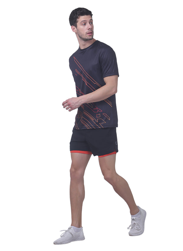 "5"" Running Shorts with water resistant phone pocket - Men's Black Orange Double Layer - TRUEREVO"
