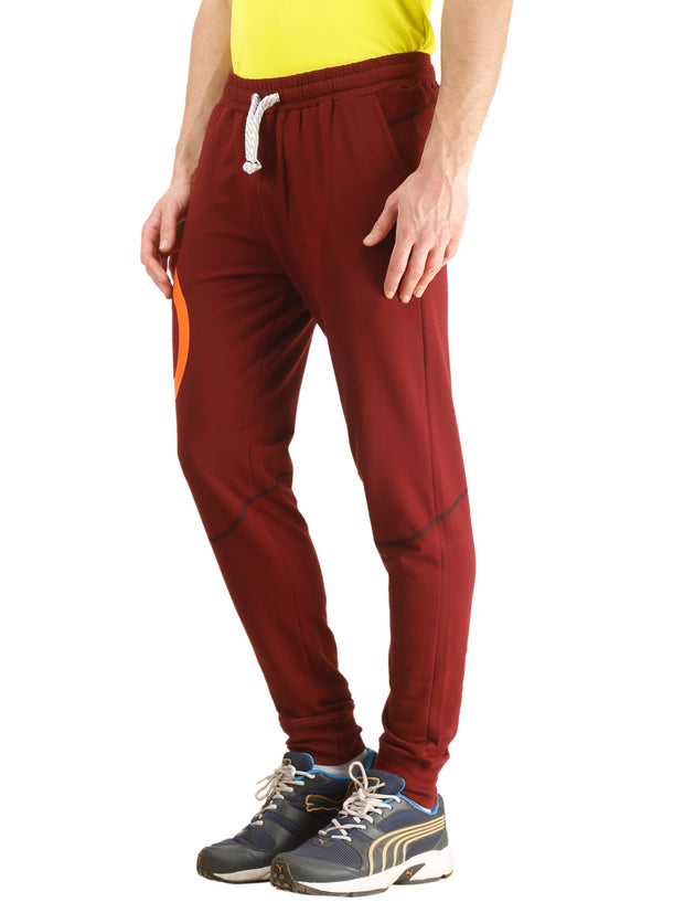 Stretch Cotton SlimFit Activewear TrackPant - Maroon - TRUEREVO