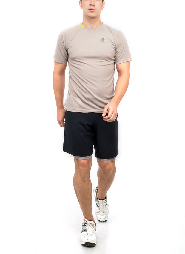 Shorts (with Phone pocket) & T-shirt Combo 2 Pack Men's Black-Grey - TRUEREVO
