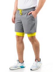 Shorts (with Phone pocket) & T-shirt Combo 2 Pack Men's Grey-Yellow - TRUEREVO