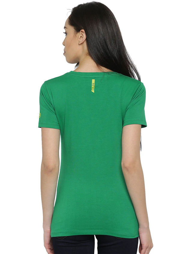 Slim Fit Ultimate Stretch Cotton Yoga & Gym Tshirt- Women's Green NO PAIN NO GAIN Printed - TRUEREVO
