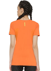 Slim Fit Ultimate Stretch Cotton Yoga & Gym Tshirt- Women's Orange Logo Printed - TRUEREVO