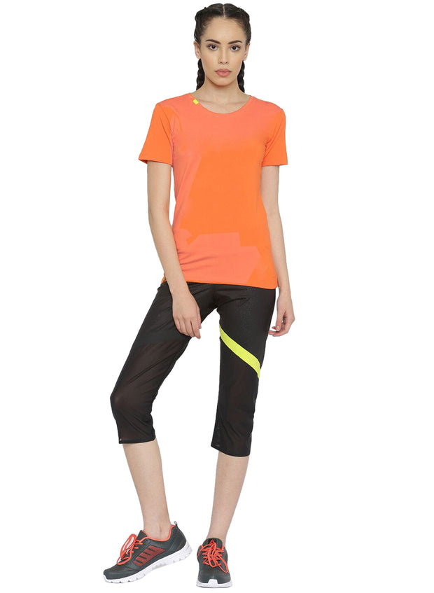 Slim Fit Ultimate Stretch Cotton Yoga & Gym Tshirt- Women's Orange - TRUEREVO