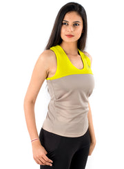 U Cut Training Tank Top - Yellow Grey - TRUEREVO