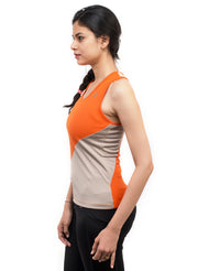 Diagonal Cut Training Tank Top - Orange Grey - TRUEREVO