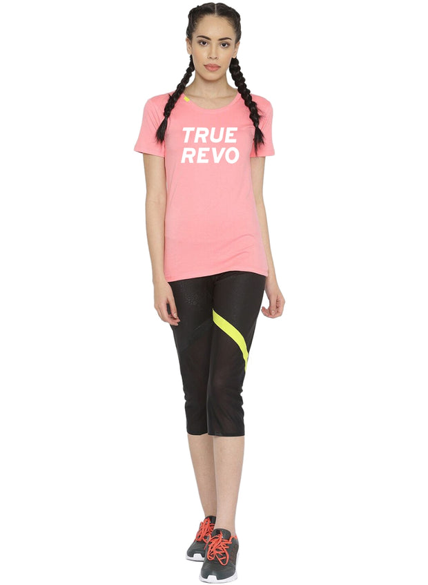 Slim Fit Ultimate Stretch Cotton Yoga & Gym Tshirt- Women's Pink Logo Printed - TRUEREVO