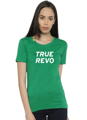Slim Fit Ultimate Stretch Cotton Yoga & Gym Tshirt- Women's Green Logo Printed - TRUEREVO