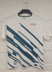 Men's Reflective dryfit tshirt with flow graphics - White/Blue - TRUEREVO