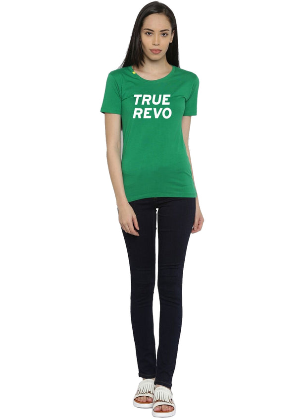 Slim Fit Ultimate Stretch Cotton Tshirt- Women's Green Logo Printed - TRUEREVO