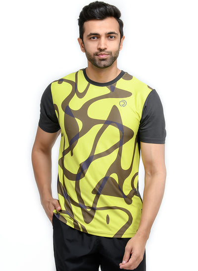 TRUEREVO MEN'S DRYFIT PRINTED T-SHIRT - COAL - TRUEREVO