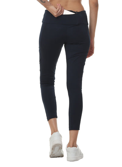 Women's Stretch Mesh 7/8th Legging with Waist Phone Pocket - Navy - TRUEREVO