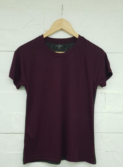 Women's Light Dryfit Tshirt with Mesh Back - Maroon