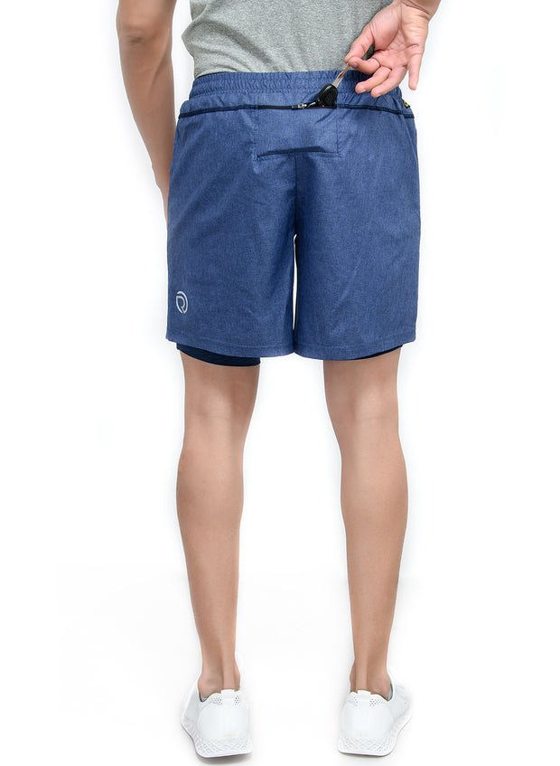 "7"" Sports Shorts with Phone Pocket - Special 2 layer Anthra Edition - Navy - TRUEREVO"