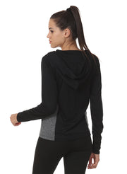 WOMEN'S   RUNNING FULL SLEEVE ZIP T-SHIRT - Dark Anthra - TRUEREVO