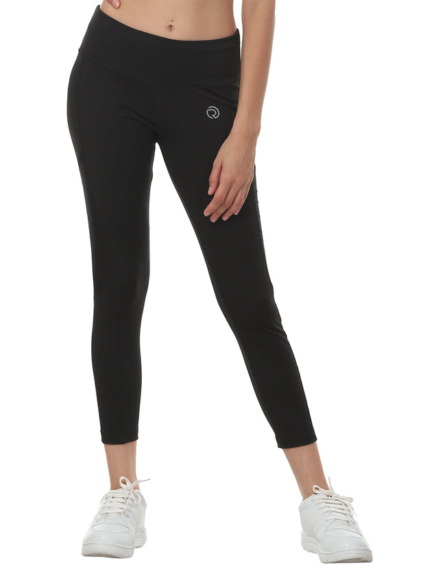 Women's Stretch Dryfit 7/8th Legging with Waist Phone Pocket - Black - TRUEREVO