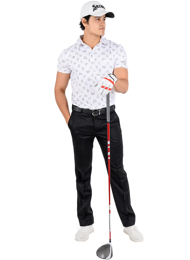 Stretch Dryfit Printed Golf & Sports Tshirt for Men - White Icon