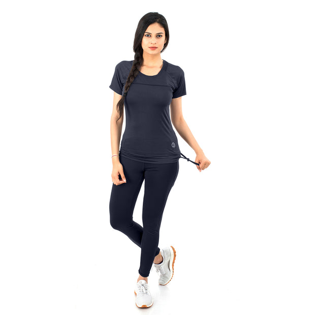 Women's Stretchy Dryfit Legging with 2 Side Pockets - Navy