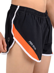 Professional Running Shorts with inner brief & key pocket - BLK/ORG