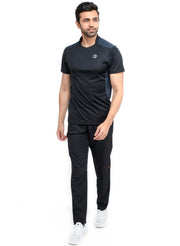 Men's Dry Fit Sports & Training Tshirt with Mandarin Collar - Black/Navy - TRUEREVO