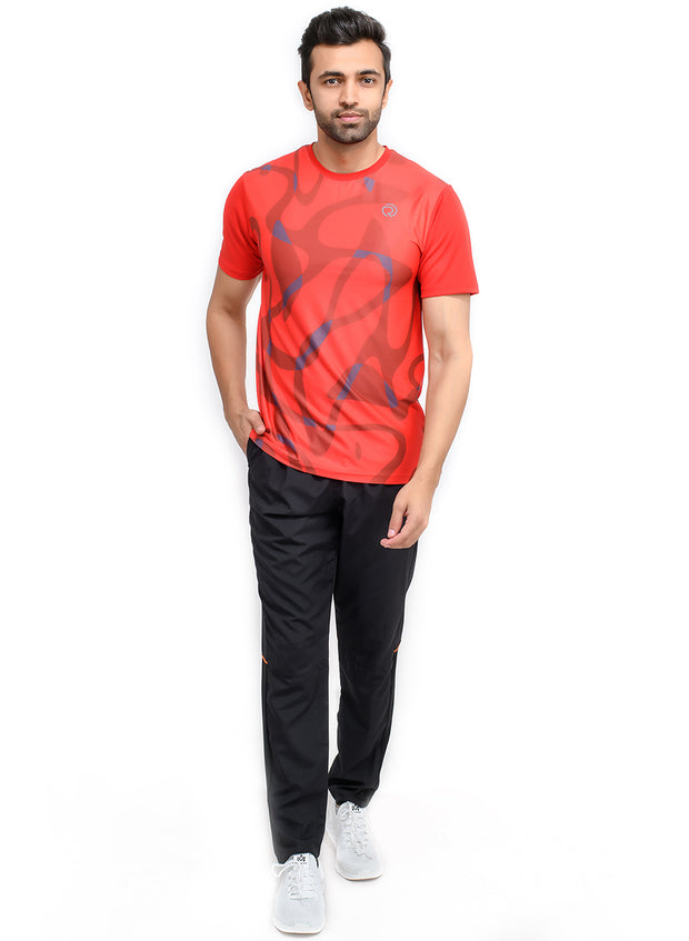 Reflective dryfit tshirt with stylish print  - RED - TRUEREVO