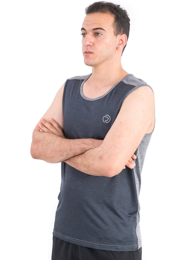 Sports Dry Fit Tank Top Vest for Running & Gym - Navy-Grey - TRUEREVO