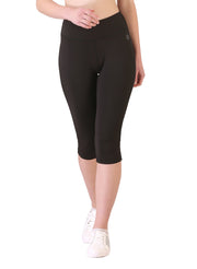 Stretchy Dryfit 3/4th Legging With Key Pocket - Black - TRUEREVO
