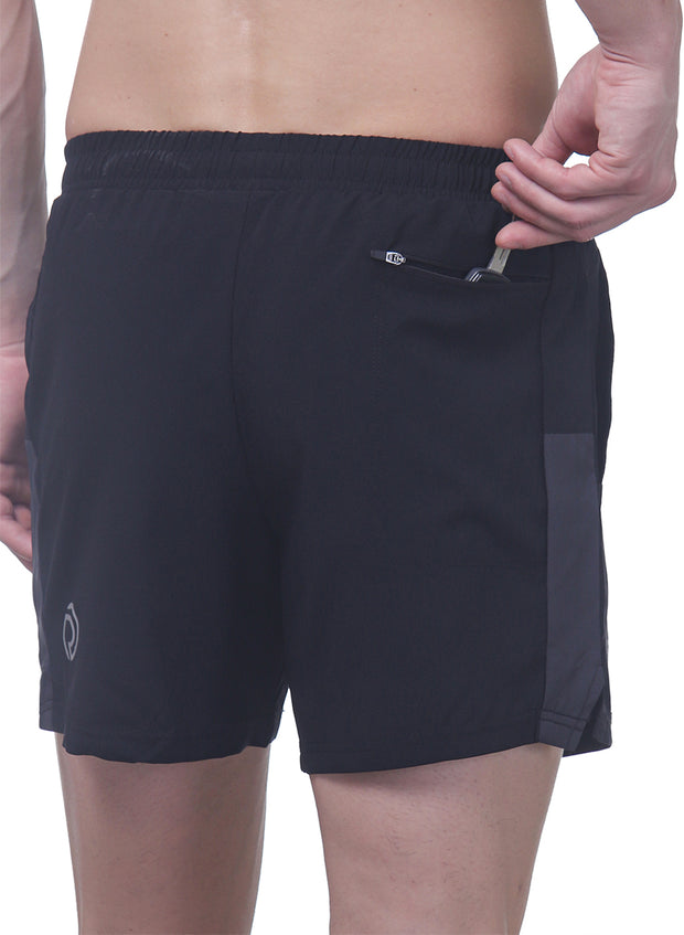 "5"" Sports Shorts with 2 side pockets & zipper back pocket - Men's Black - TRUEREVO"