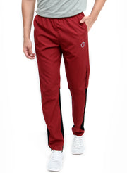 Men's Sports Track Pant with zipper back pocket - MAROON & BLACK - TRUEREVO
