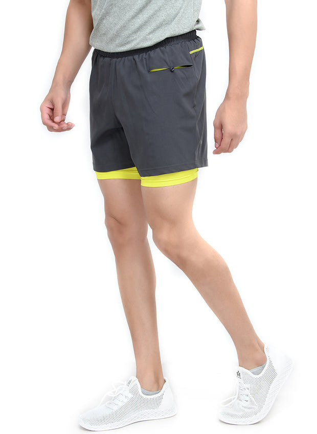 "5"" Running Shorts with water resistant phone pocket - Men's Coal Double Layer - TRUEREVO"