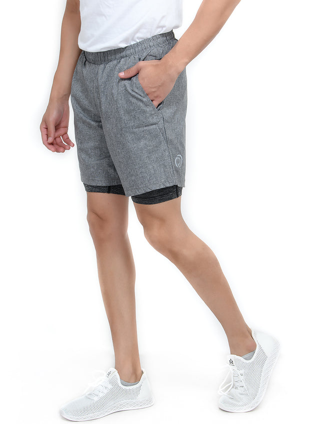 "7"" Sports Shorts with Phone Pocket - Special 2 layer Anthra Edition - Dark Grey - TRUEREVO"