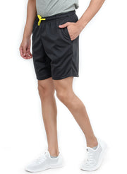 "Flexible Dry Fit Sports Shorts with 2 Zipper Pockets (8"" length) - Dark Grey - TRUEREVO"