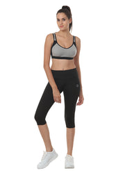 Women's Stretch Dryfit 3/4th Legging with Waist Phone Pocket - Black - TRUEREVO